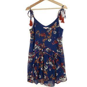 Mossimo Supply Co Blue Boho Floral Dress